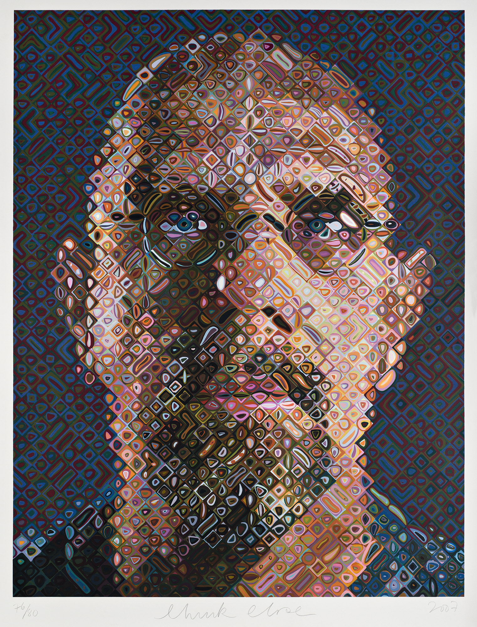 Chuck Close American, born 1940 Self-Portrait, 2007 203-color screenprint; 74 1/2 x 57 3/4 in. Wadsworth Atheneum Museum of Art The Douglas Tracy Smith and Dorothy Potter Smith Fund, 2013.4.1